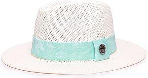 Chapéu Fedora Palha Rígida Creme Aba Média 6,5cm Faixa Verde Agua - Coleção Veludo