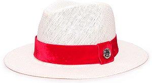 Chapéu Fedora Palha Rígida Creme Aba Média 6,5cm Faixa Vermelha - Coleção Veludo