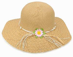 Chapéu Floppy Palha de Praia com Flor