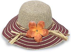 Chapéu Floppy de Praia Aba Maleável Palha Duas Cores Faixa Floral com Vivacidade