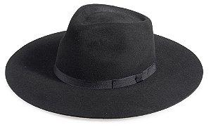 Chapéu Fedora Preto 100% Lã Aba 10cm Premium Hats