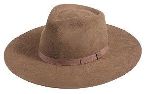 Chapéu Fedora marrom 100% Lã Aba 10cm Premium Hats