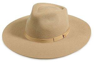 Chapéu Fedora Bege 100% Lã Aba 10cm Premium Hats