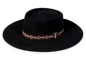 Chapéu Pork Pie Preto 100% Lã Aba 9cm Premium Hats