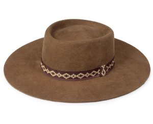 Chapéu Pork Pie Marrom 100% Lã Aba 9cm Premium Hats