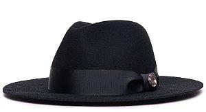 Chapéu Fedora 100% Lã Preto Aba 7cm Faixa Preta - Coleção Gorgurão