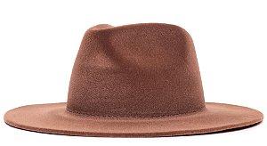 Chapéu Fedora Veludo Caramelo Aba Grande 8cm LISO