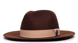Chapéu Fedora 100% Lã Marrom Aba 7cm Faixa Sand Snake - Coleção Animale