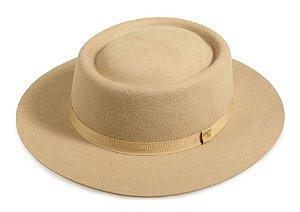 Chapéu Pork Pie Bege 100% Lã Aba 6,5cm Premium Hats