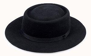 Chapéu Pork Pie Preto 100% Lã Aba 6,5cm Premium Hats