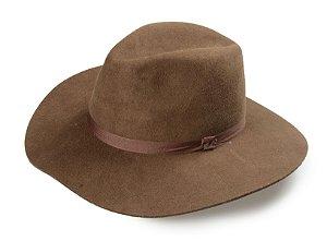Chapéu Fedora Marrom 100% Lã Aba 8cm Premium Hats