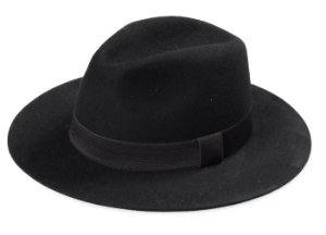 Chapéu Fedora Preto 100% Lã Aba Reta 6,5cm Premium Hats Tradicional