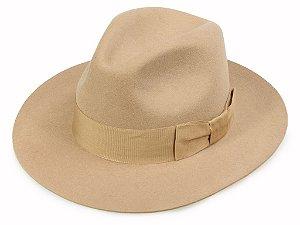 Chapéu Fedora Camel 100% Lã Aba 7cm Premium Hats