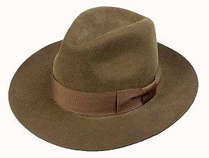 Chapéu Fedora Marrom 100% Lã Aba Reta 7cm Premium Hats