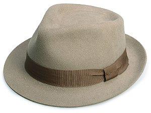 Chapéu Fedora Caqui 100% Lã Aba 4cm Premium Hats