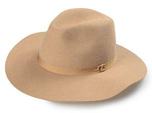 Chapéu Fedora Camel 100% Lã Aba 8 cm Premium Hats