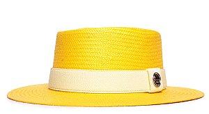 Chapéu Pork Pie Amarelo Aba Média 7cm Palha Shantung Faixa Amarelo Pastel - Coleção Elástica