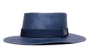Chapéu Pork Pie Azul Marinho Aba Média 7cm Palha Shantung Faixa Azul Marinho - Coleção Elástica