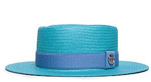 Chapéu Pork Pie Azul Turquesa Aba Média 7cm Palha Shantung Faixa Azul - Coleção Elástica