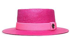 Chapéu Pork Pie Rosa Aba Média 7cm Palha Shantung Faixa Rosa Neon - Coleção Elástica