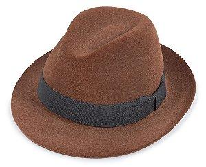 Chapéu Fedora Marrom Edição Veludo Aba 5cm
