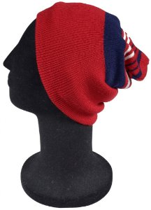 Touca Gorro Lã Lisa Vermelha Azul e Branca