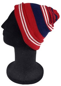 Touca Gorro Lã Lisa Vermelha Azul e Branca Unissex