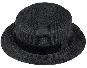 Chapéu Palheta de Palha Preto Aba 5cm