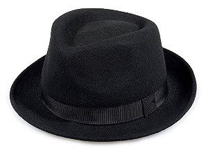 Chapéu Fedora Preto 100% Lã Aba Curta 5cm Importado