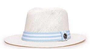 Chapéu Fedora Palha Rígida Creme Aba Média 6,5cm Faixa Azul Bebê Duas Listras Branca - Coleção Stripes