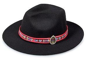 Chapéu Fedora Customizado Faixa Rosa Pedra Colorida Custom Hats