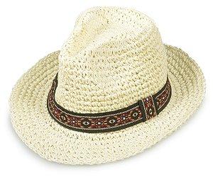 Chapéu Fedora Palha Creme Aba 6cm