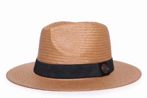 Chapéu Estilo Panamá Aba Média 7cm Palha Shantung Faixa Preta - Coleção Clássica