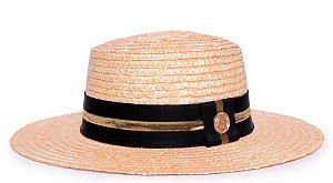 Chapéu Palheta Aba Média Palha Dourada Faixa Preta e Dourada - Coleção Stripes