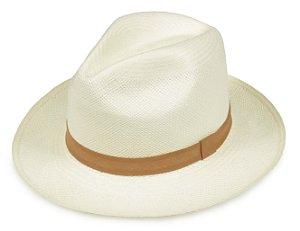 Chapéu Panamá Creme Faixa Marrom Claro