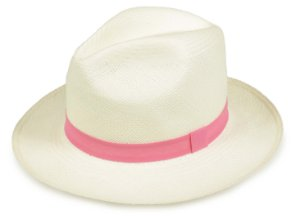 Chapéu Panamá Creme Faixa Rosa Escuro