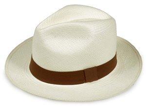 Chapéu Panamá Creme Faixa Marrom