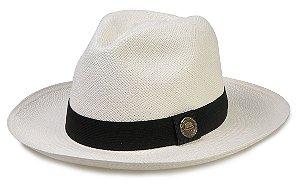 Chapéu Panamá Branco Faixa Preta Tradicional Montecristi