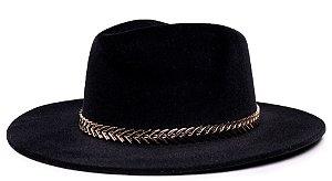 Chapéu Fedora Preto Aba Grande Veludo Preto Faixa Dourada II - Coleção Metalizada