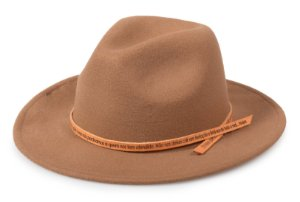 Chapéu Fedora Caramelo Customizado Pai Nosso Laranja Custom Hats