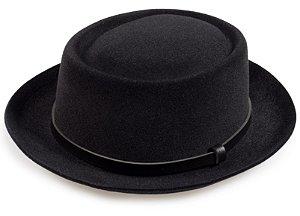 Chapéu Porkpie Preto Aba 5cm Couro Preto Custom Hats