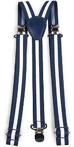 Suspensório Unissex Listrado Azul e Branco 2,0cm