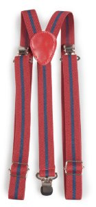 Suspensório Unissex Listrado Vermelho e Azul 2cm