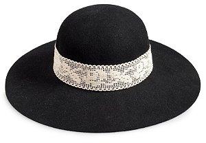 Chapéu Floppy Preto 100% Lã Faixa Rendada Custom Hats