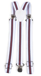 Suspensório Unissex Listrado Branco, Azul e Vermelho 2cm