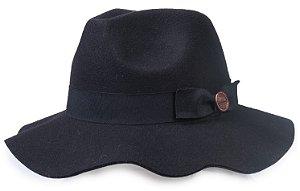 Chapéu Fedora Preto Feminino Aba Maleável 7cm Faixa Laço