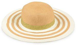 Chapéu Praia Listrado Caramelo Branco