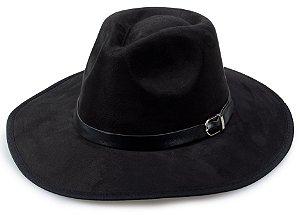 Chapéu Fedora Preto Aba Grande Maleável 8cm