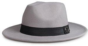 Chapéu Fedora Cinza Aba Média 7cm