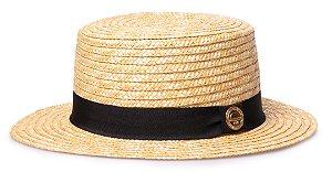 Chapéu Palheta Boater Palha Dourada Aba Média 5cm